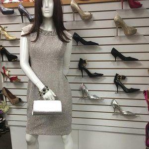 Elisa J Embellished Sparkly knit Sheath Dress,